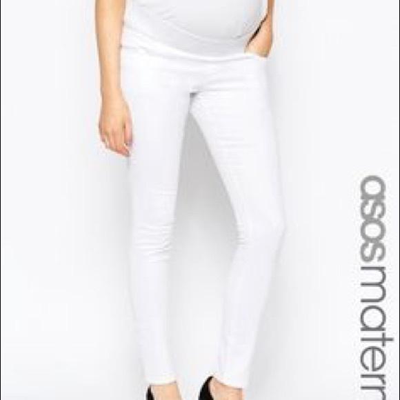 f345e8a37cd97 ASOS Maternity Pants | Maternity Skinny White Jeans | Poshmark
